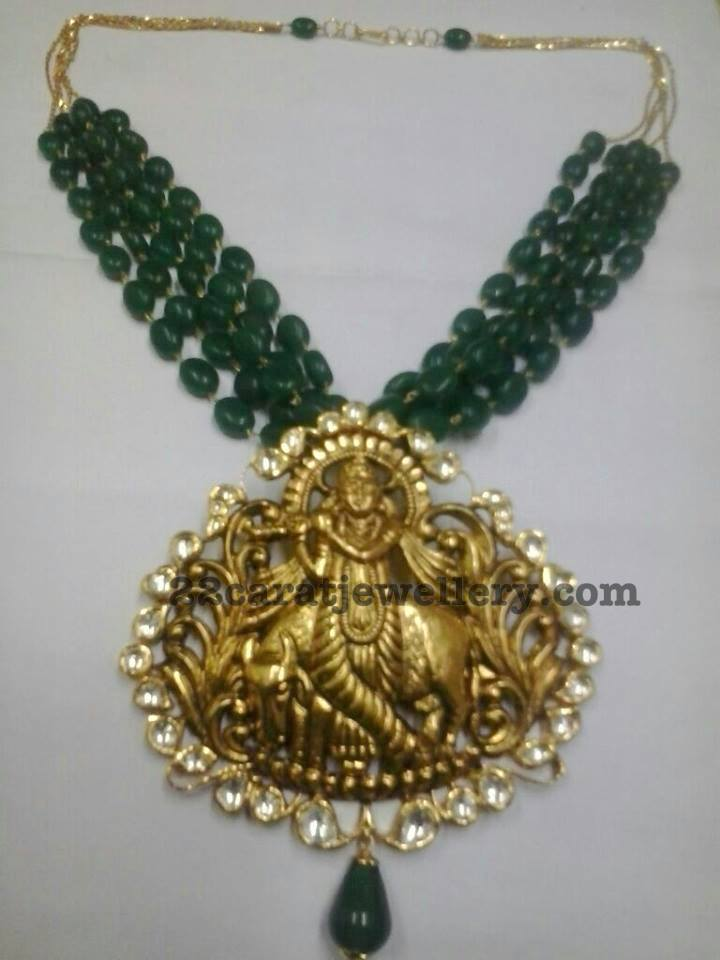 Lord Krishna Locket With Emerald Beads Jewellery Designs