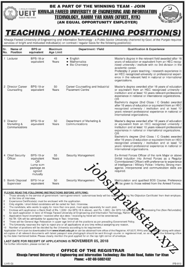Advertisement for Khawaja Fareed University Jobs 2018