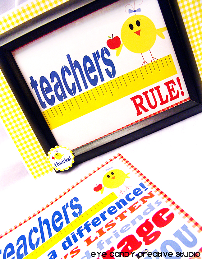 teachers rule art print, framed teacher gift idea, ruler, thank a teacher