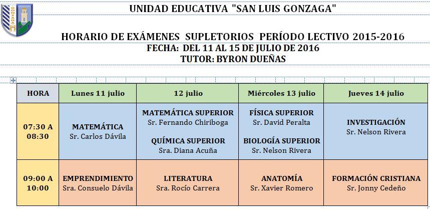 Inicio Colegio Gonzaga 2010: Horarios Exámenes Supletorios