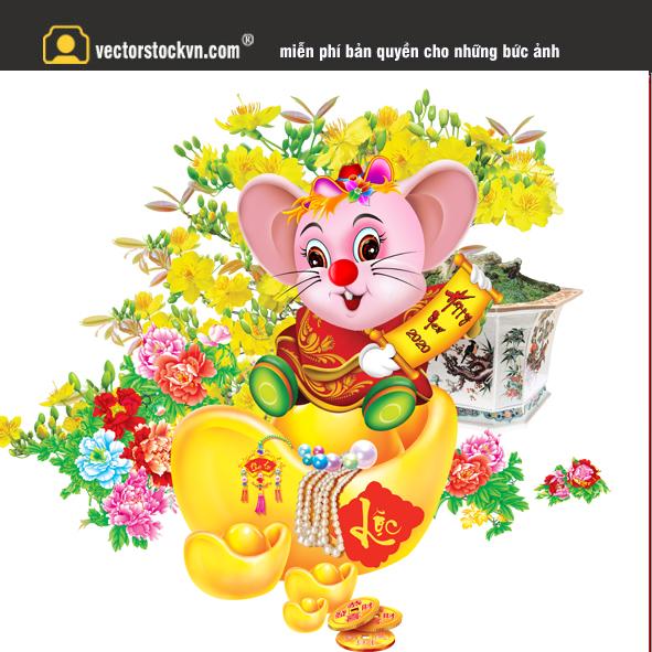 in lịch tết con chuột vàng 2020