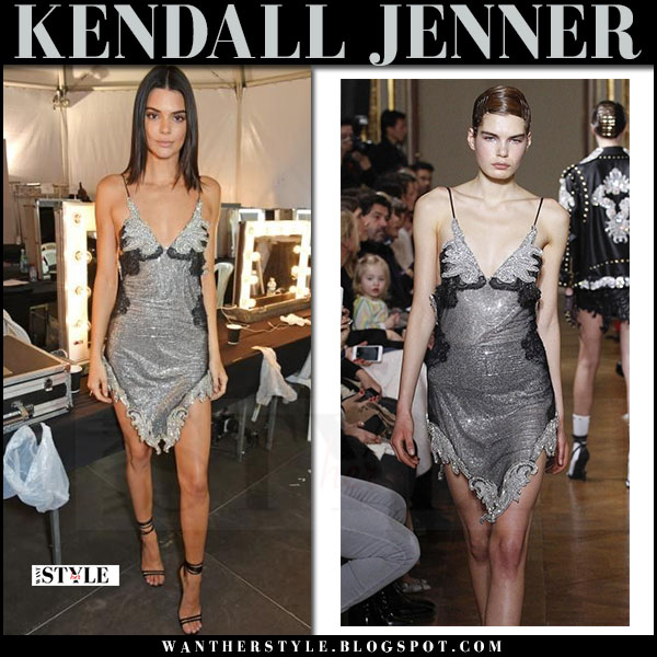 Kendall Jenner in metallic silver mini dress francesco scognamiglio at Gala in Cannes 2017 what she wore