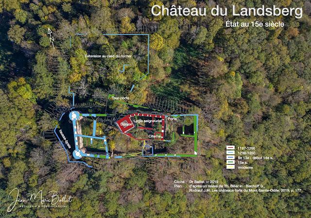 Château du Landsberg — Vue d'apex et plan, état du 15e s.