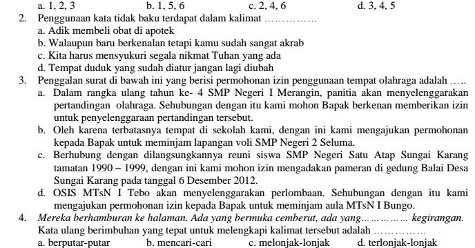 Contoh Soal UAS Bahasa Indonesia SMP Kelas 8 Semester 1