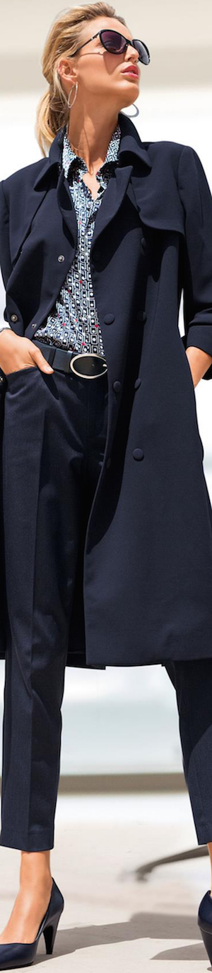 Madeleine Navy Trench Coat, Shirt, and Trousers