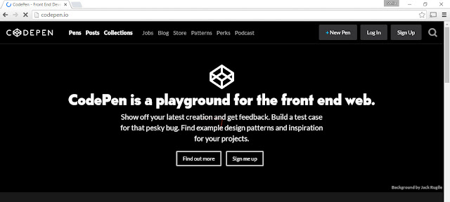 CodePen front page
