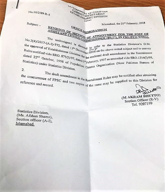 REVISION OF METHOD OF APPOINTMENT FOR THE POST OF ASSISTANT CENSUS COMMISSIONER (BS-17) IN PAKISTAN BUREAU OF STATISTICS (PCO WING)
