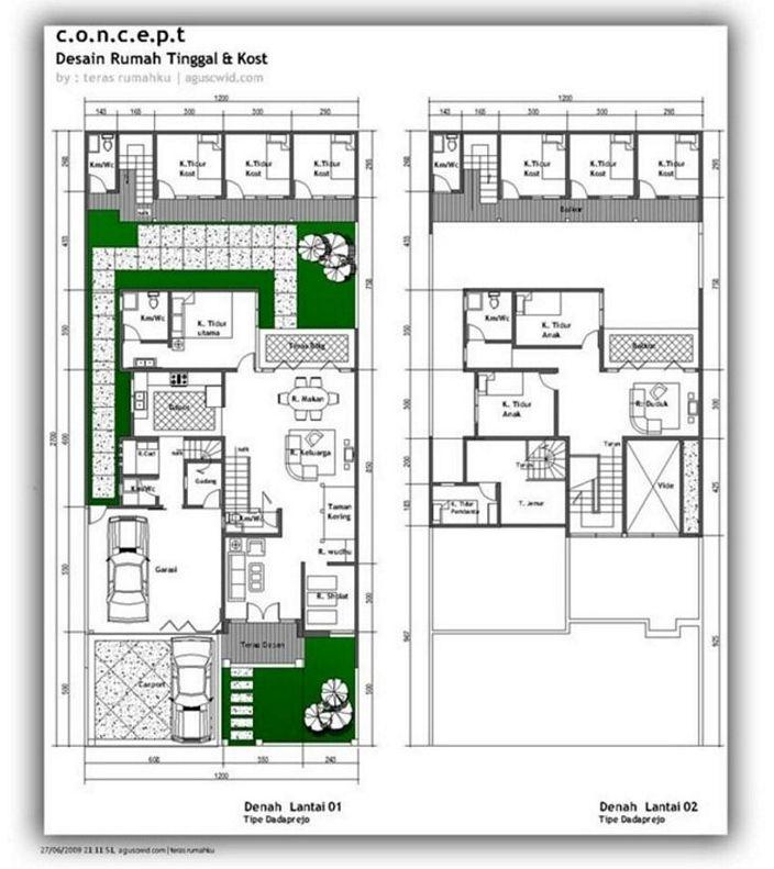 denah rumah mewah 2 lantai yang minimalis