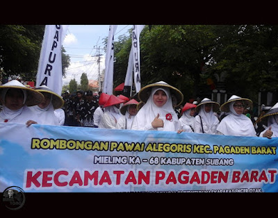 Pawai Alegoris Kec.Pagaden Barat Meriahkan HUT Kabupaten Subang ke-68. Foto dapet nyomot dari akun medsosnya bu Rohenah.
