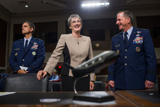 Air Force Secretary Heather Wilson, center, says the military is complicated enough without having a dedicated Space Corps. (Tom Williams/CQ Roll Call)