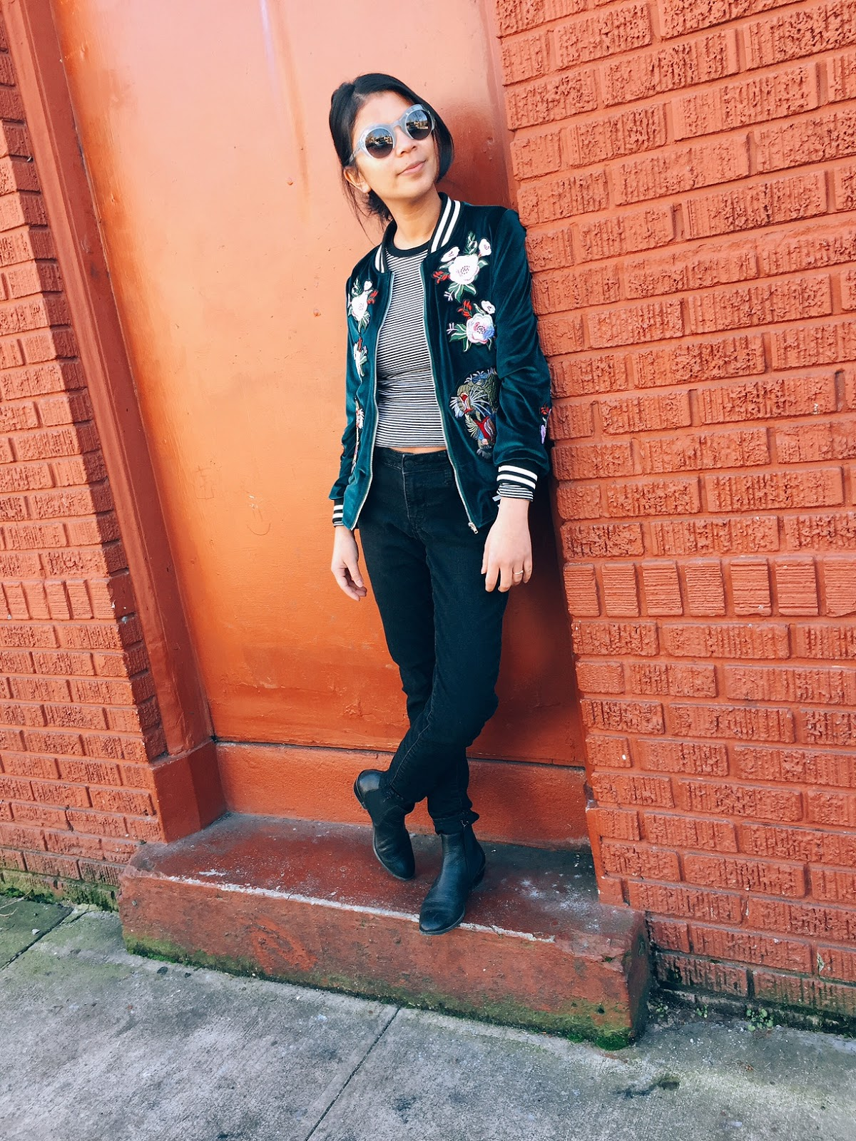 amazon find, black booties, black jeans, bomber jackets, embroidered, green jacket, outfit of the day, portland fashion blogger, velvet jacket,