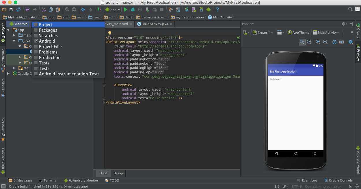 Create First Android Application with Android Studio