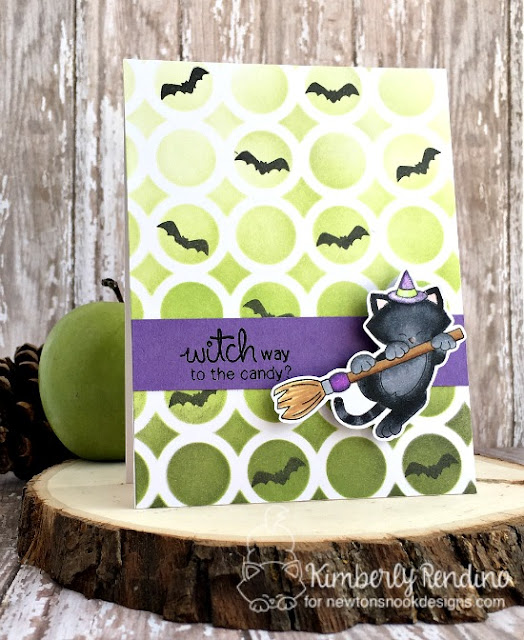 Newton's Boo-tiful Night card by Kimberly Rendino | Newton's Nook Designs | witch | bats | stenciled background | distress ink | halloween | handmade card | cardmaking | stamping | papercraft | kimpletekreativity.blogspot.com