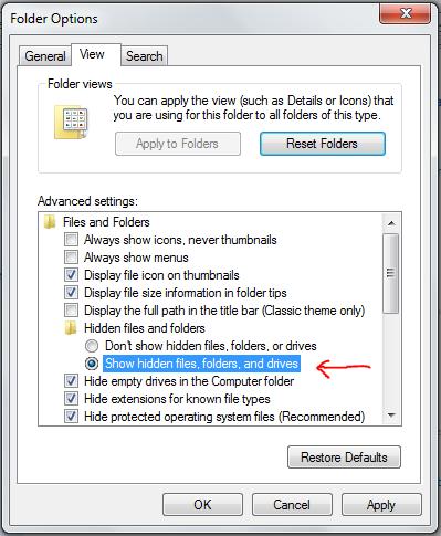 contoh setting untuk hidden file