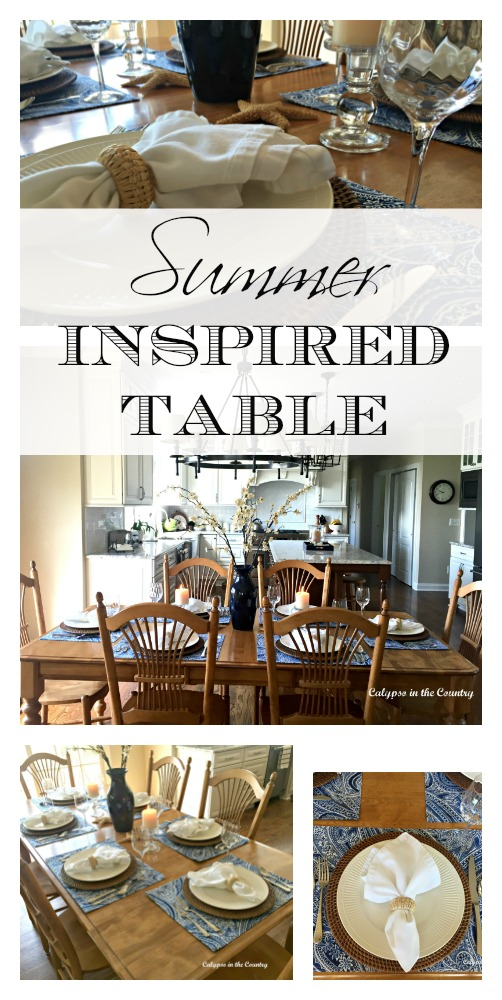 Summer Table Setting - Ideas to decorate with blue and white for a coastal summer look.