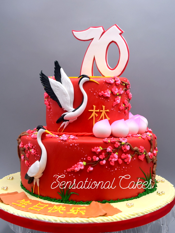 The Sensational Cakes 70th Longevity Cake Singapore Red
