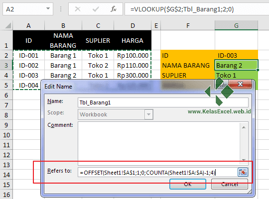 Cara Membuat Nama Range Dinamis pada Excel 7