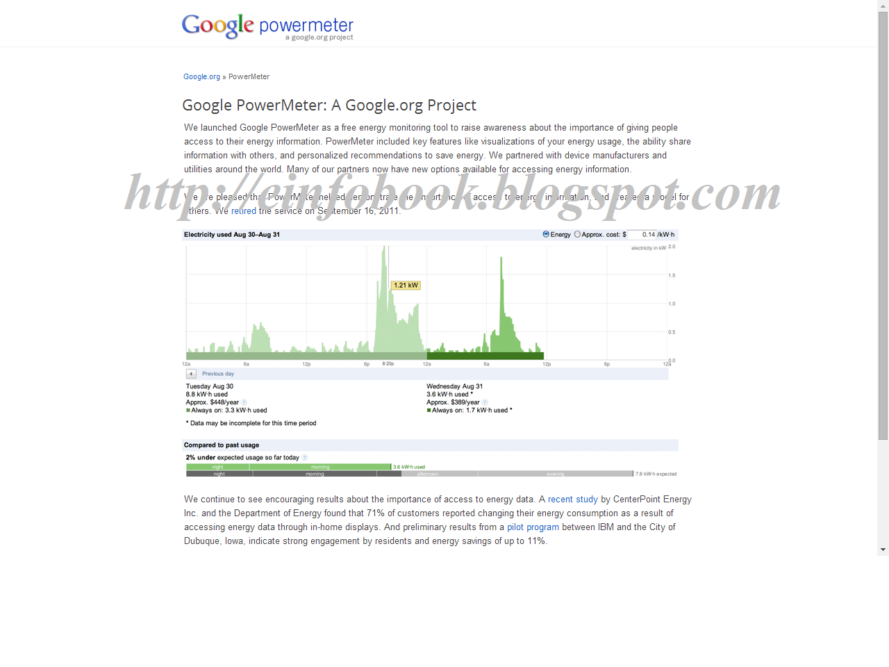 E info Book Google powermeter