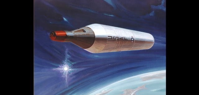 Artist's depiction of the proposed Manned Orbiting Laboratory (MOL) vehicle platform. (Douglas Aircraft Co., 1967)