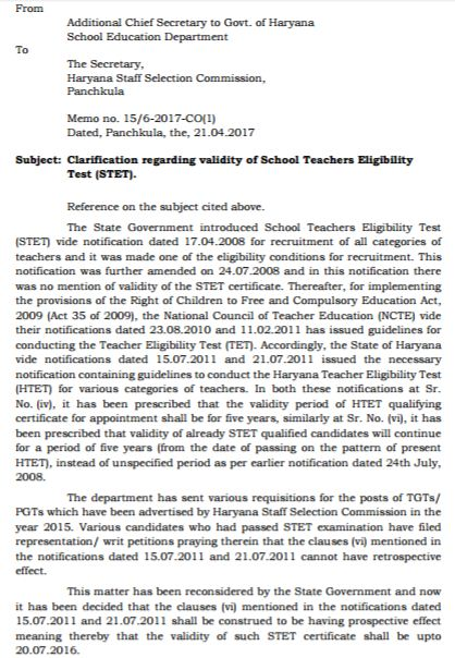 image : Clarification Regarding the Validity of HTET/STET @ TeachMatters