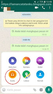 Mengirim file audio di whatsapp