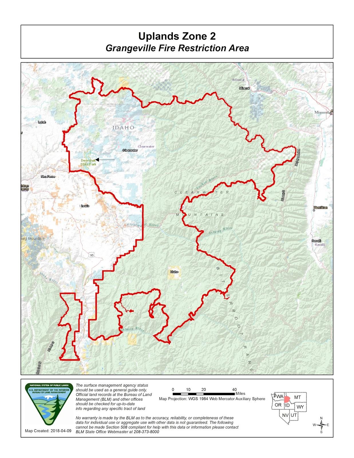 Hwy 95 Idaho Map.Idaho Fire Information Grangeville Fire Restrictions Area
