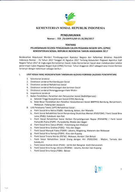 Lowongan Calon Pegawai Negeri Sipil Kementerian Sosial Republik Indonesia 2017