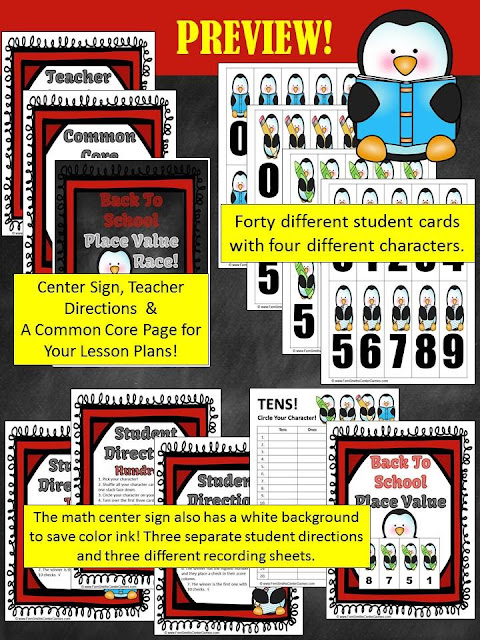Fern Smith's Classroom Ideas Back to School Penguin Place Value Race at TeacherspayTeachers, TpT.