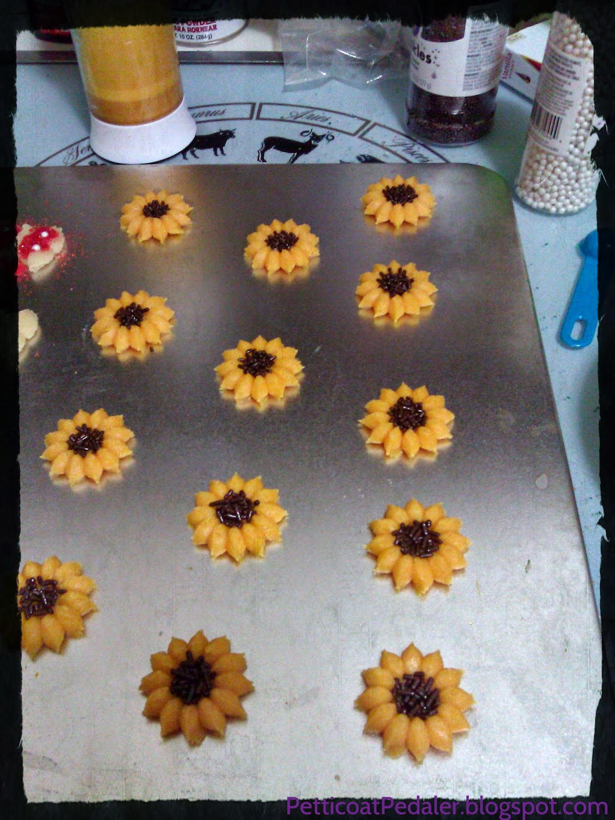 Spritz cookies that look like sunflowers.