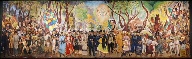 Image of a mural with many people in it depicting 400 years of Mexican history, titled Dream of a Sunday Afternoon in Alameda Park by Diego Rivera