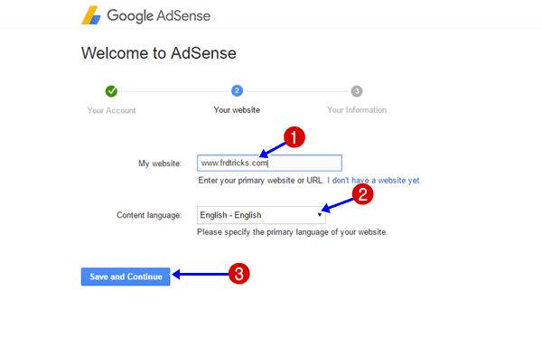 Mention website and language in Adsense