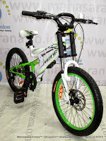 Sepeda Gunung Remaja Pacific Viper 6 Speed Full Suspension 20 Inci White Green