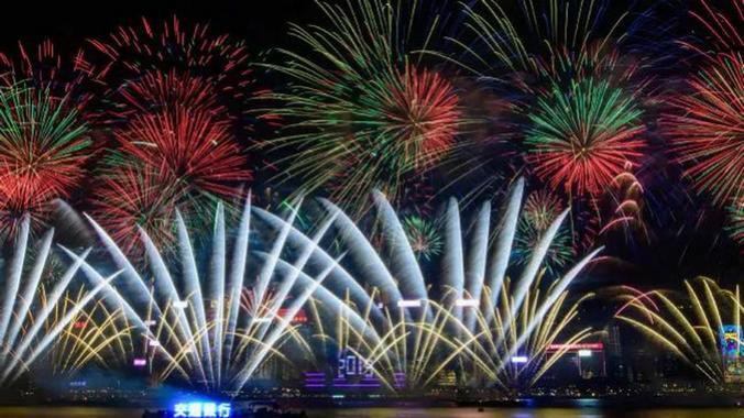 Pesta kembang api malam tahun baru 2019 di Hong Kong. (Foto: AFF PHOTO)