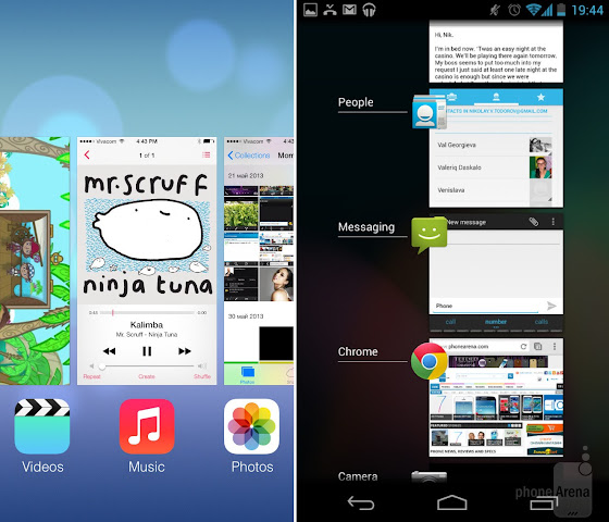 Android Lollipop vs iOS 7: Multitasking and App Previews