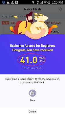 dollar gratis dari aplikasi CoinNess Android