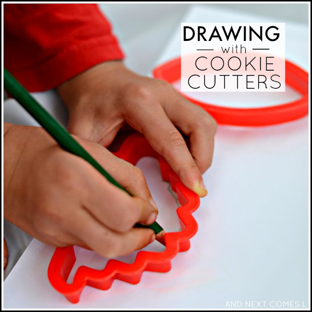 Simple no-prep invitation to play for kids: drawing with cookie cutters from And Next Comes L
