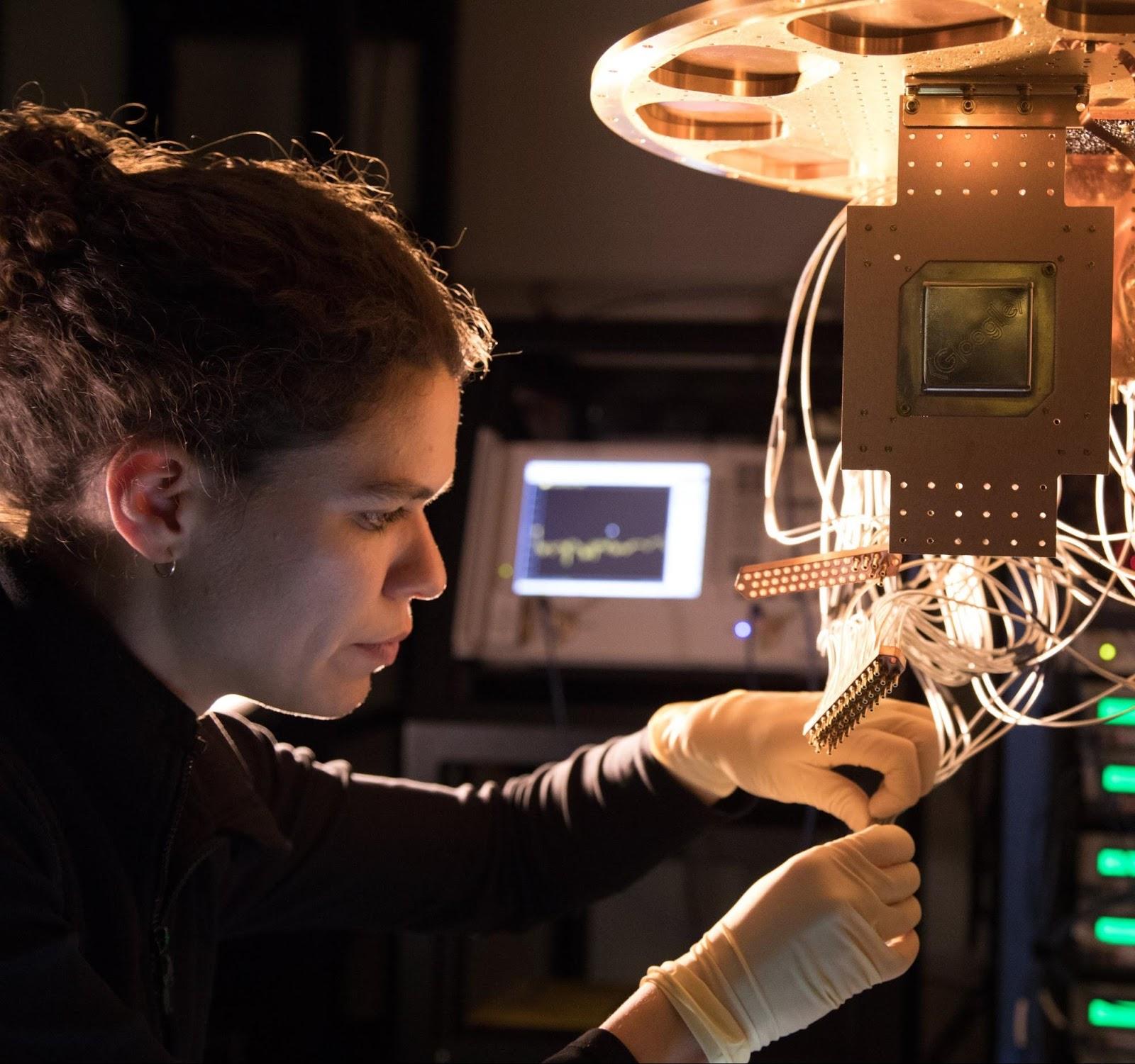 Google ai blog a preview of bristlecone googles new quantum processor a bristlecone chip being installed by research scientist marissa giustina at the quantum ai lab in santa barbara malvernweather Gallery