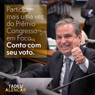 """Destaque em atuações dentro e fora da câmara, Tadeu Alencar participa de mais um """"Prêmio Congresso em Foco"""""""