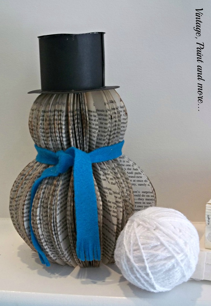 Vintage, Paint and more... diy book page snowman and styrofoam yarn wrapped snowballs