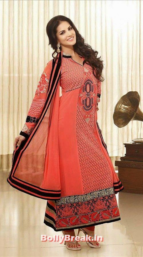 Sunny Leone in Red Anarkali Chruisar, Sunny Leone Anarkali Churidar Pics, Sunny Leone in Indian Clothes
