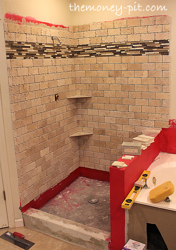 Master Bathroom Week 5: Installing Shower Shelves (The Cheap Way ...