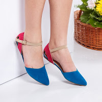 Sandale Trepanier albastre cu talpa joasa