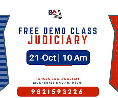 Free Demo Class for Judiciary on 21st October - Pahuja Law Academy