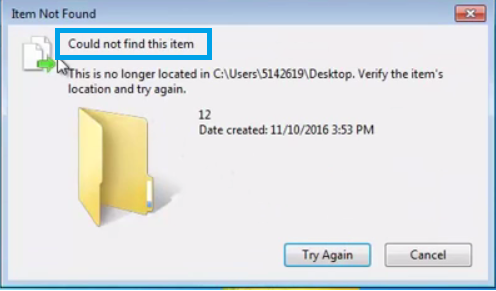 "How to fix ""Error  find this item"" or "" Item Not Found"" error when deleting a folder."