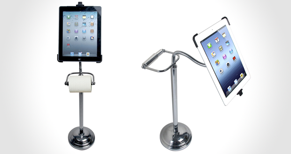 Pedestal Stand with Roll Holder for iPad