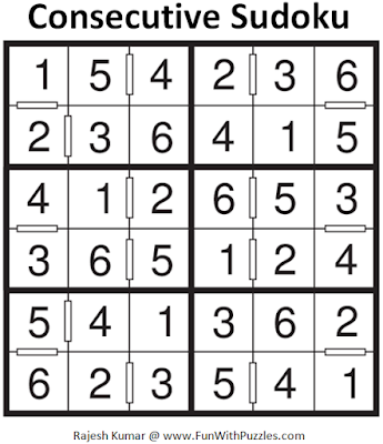 Consecutive Sudoku (Mini Sudoku Series #53) Solution