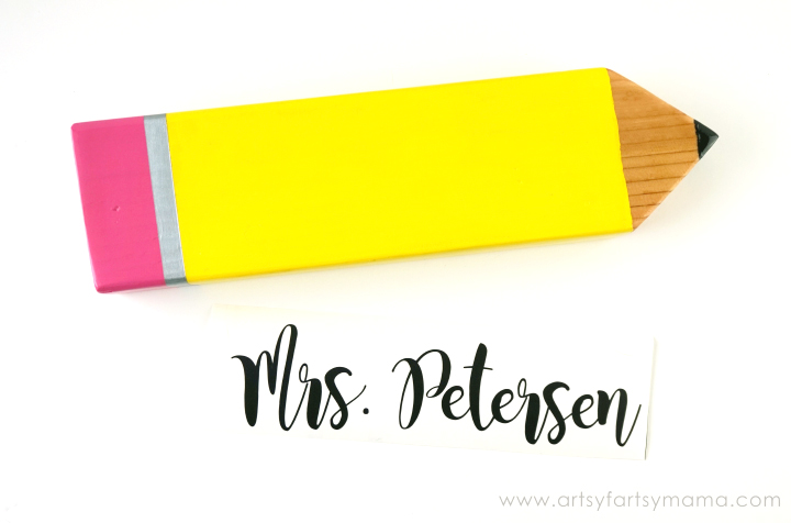 Personalized Pencil Teacher Gift Tutorial at artsyfartsymama.com