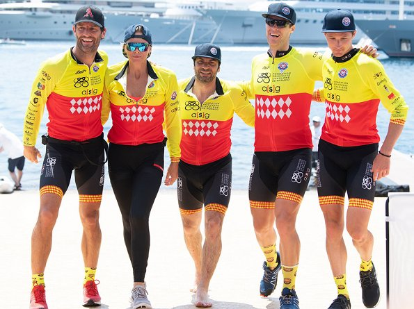 Prince Albert, Princess Charlene, Crown Prince Jacques of Monaco and Pierre Casiraghi attended the Riviera Water Bike Challenge 2018