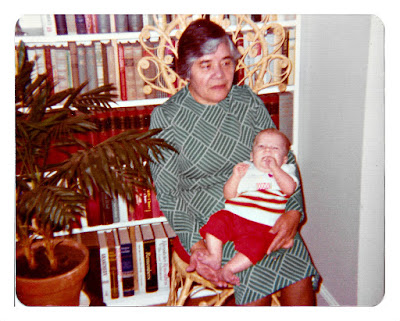 "Clara Aceituno—aka ""Mama Clara""—in 1976 at 1776 Sweetwood Drive in Broadmoor, California, hanging out with some random white baby."