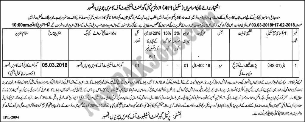 Latest 2018 Jobs in Govt Institute of Commerce Chunia Kasur for Mali